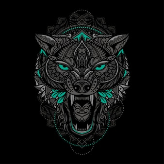 Hand drawn ethnic wolf head illustration