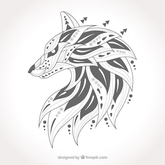 Hand drawn ethnic wolf pack
