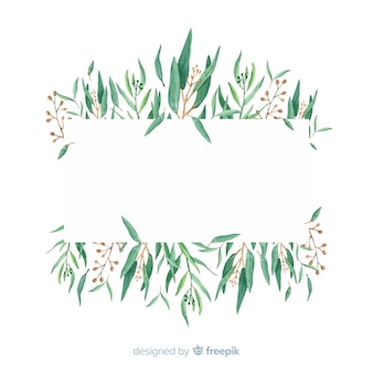 Hand drawn eucalyptus branches background with blank space