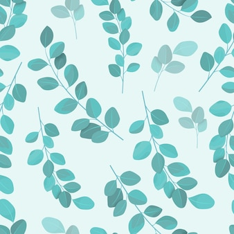 Hand drawn eucalyptus leaves seamless pattern