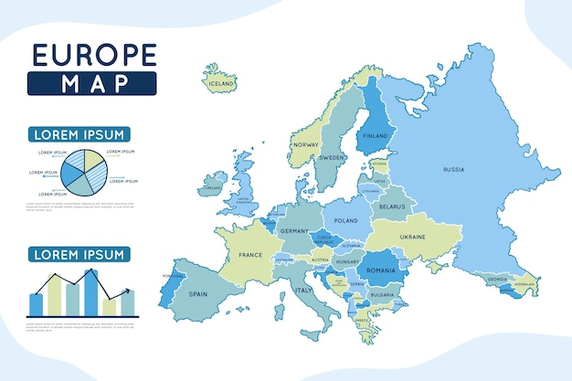 Hand drawn europe map infographic