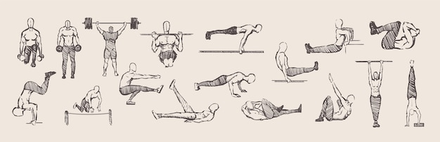 Hand drawn exercises calisthenics training workout set