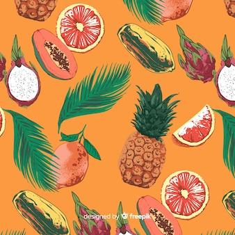手描きのエキゾチックなフルーツパターン