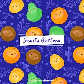 Hand drawn exotic fruits pattern