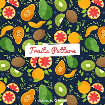Hand drawn exotic fruits pattern