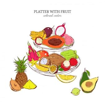 Ручной обращается шаблон экзотических фруктов