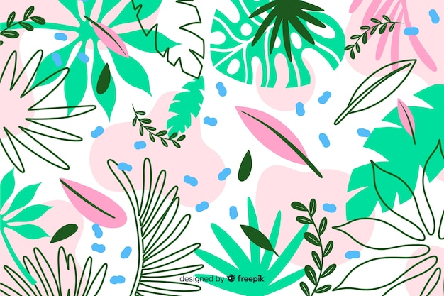Hand drawn exotic leaves background