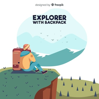 Hand drawn explorer with backpack background