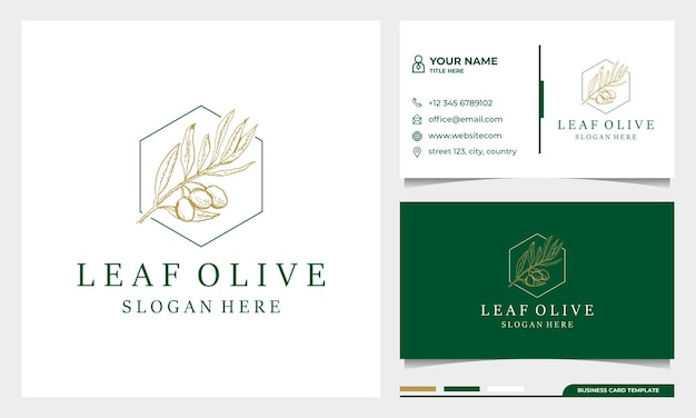 Hand drawn extra virgin olive oil logo design with business card template