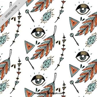 Hand drawn eyes and boho elements pattern