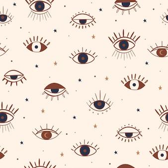 手描きの目神秘的なシームレスパターン。