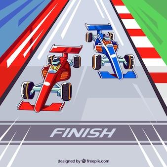Рисованные f1 гоночные автомобили, пересекающие финишную линию