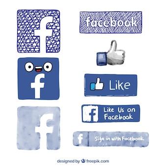 Hand drawn facebook logos