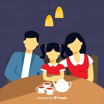 Hand drawn faceless family having tea together