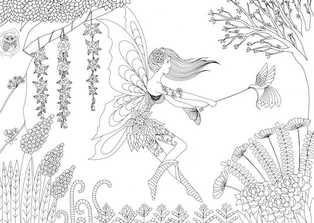 Hand drawn fairy background