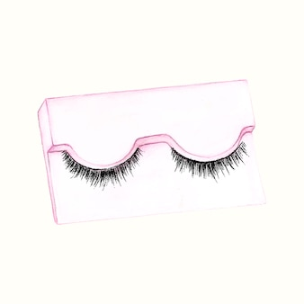 Hand drawn fake eyelash isolated on white background