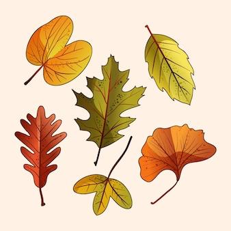 Коллекция рисованной осенних листьев
