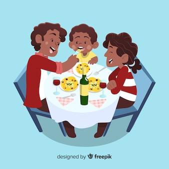 테이블 주위에 손으로 그린 가족