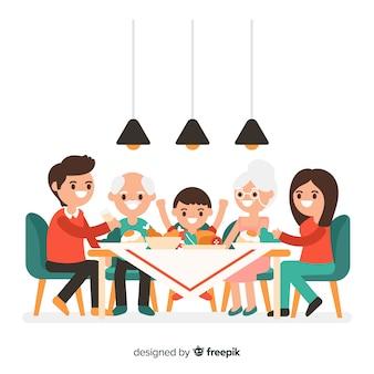 テーブルの周りの手描きの家族