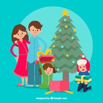 Hand drawn family christmas scene background