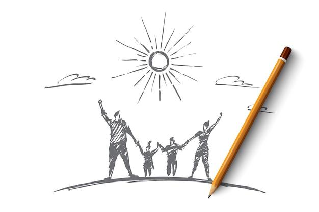 위에 연필로 손으로 그린 가족 개념 스케치