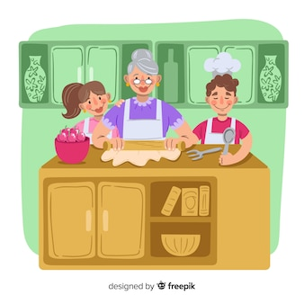 Hand drawn family cooking background