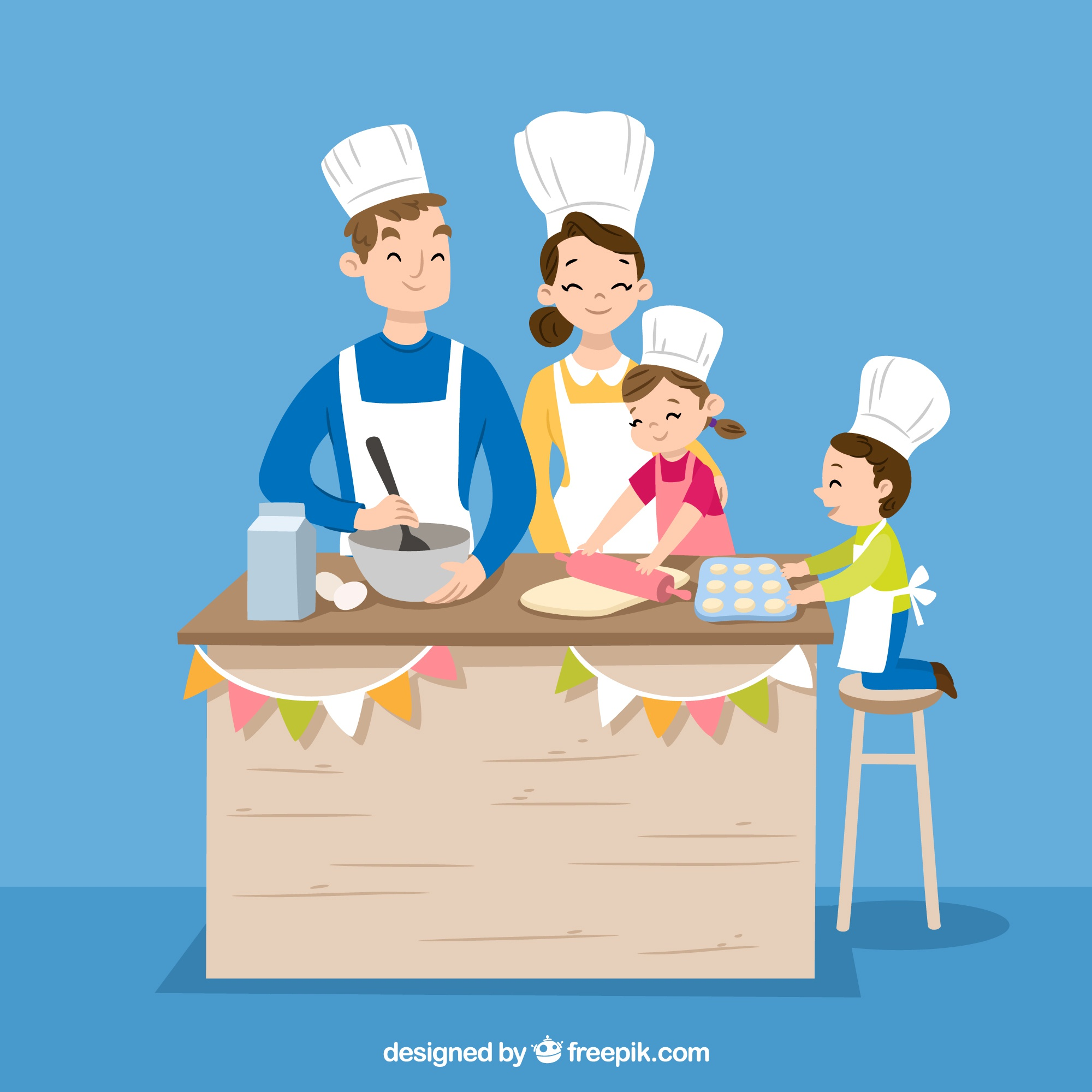 Hand drawn family cooking together
