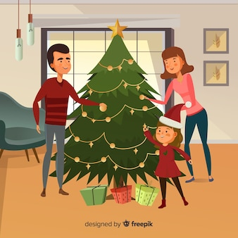 Hand drawn family decorating christmas tree christmas background