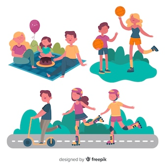 Hand drawn family doing outdoor activities