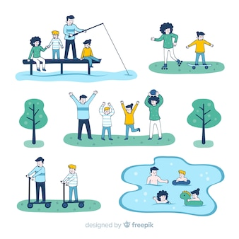 Hand drawn family doing outdoors activities collection