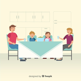 Hand drawn family eating together scene