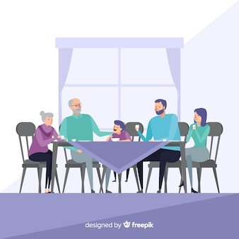 Hand drawn family  eating together