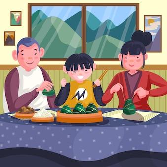 손으로 그린 가족 먹는 zongzi