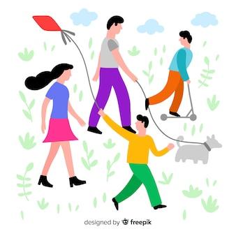 산책 그림을 가진 손으로 그린 가족