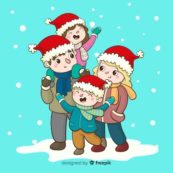 楽しいクリスマスの背景を持つ手描きの家族