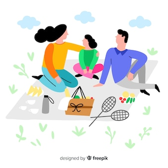 Hand drawn family having a picnic illustration