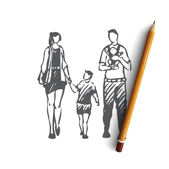 Нарисованная рукой иллюстрация семьи