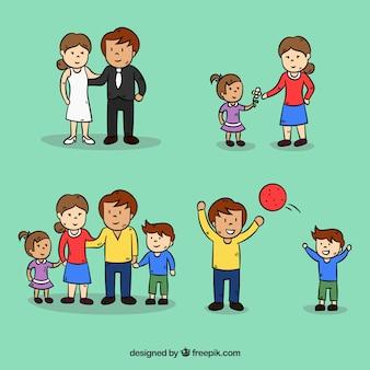 다른 삶의 단계에서 손으로 그린 가족