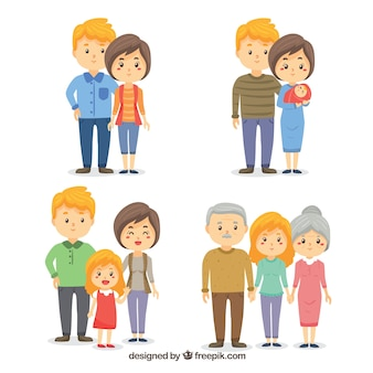 Hand drawn family in different life stages