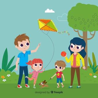 Ручной обращается семья в парке