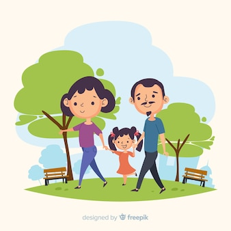 Hand drawn family in the park