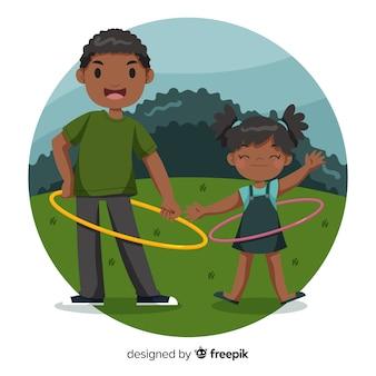 Famiglia disegnata a mano giocando con l'hula hoop