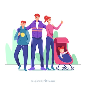 Hand drawn family portrait illustration
