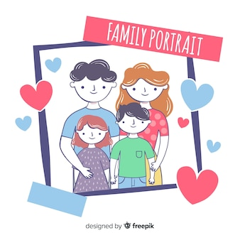 Hand drawn family portrait instant photo