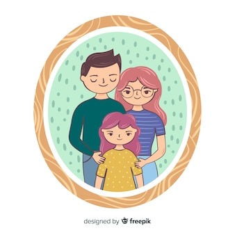 Hand drawn family portrait with frame