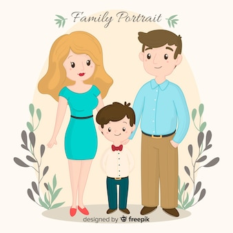 Hand drawn family portrait with leaves