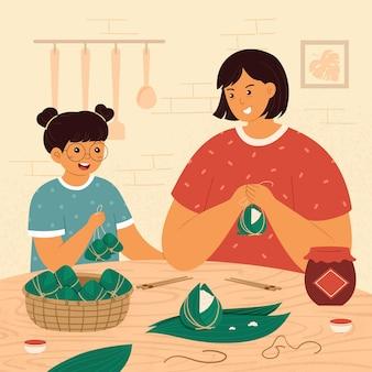 Рисованной семьи готовит и ест цзунцзы