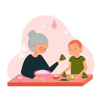 손으로 그린 가족 준비 및 zongzi 먹는