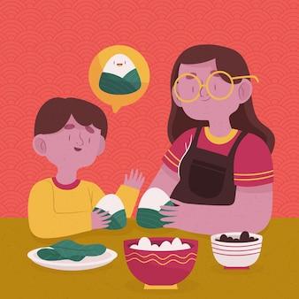 Famiglia disegnata a mano che prepara e che mangia zongzi