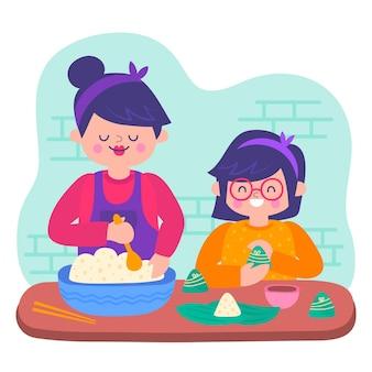 Hand drawn family preparing and eating zongzi